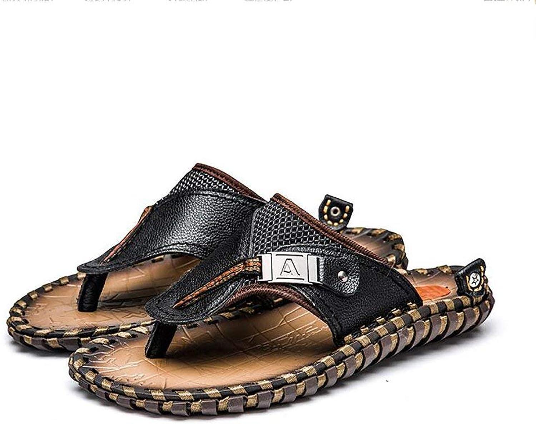 c19e92dec FuweiEncore Sports Flip Flops Leather Sandals Mens Summer Summer Summer  Beach Handmade Large Size Slipper, Brown, 41 (color Black, Size 44) 8bfda8