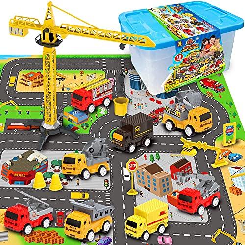 RuiDaXiang Set di Giocattoli per Veicoli da Costruzione di ingegneria, con Tappetino Gioca a Città, Camion Giocattolo, Set da Gioco Mini Pull Back per Auto