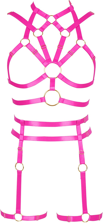 Women's Full Cage Body Harness Bra Set Gothic [Alternative dealer] Popular shop is the lowest price challenge A Punk Garter Belt