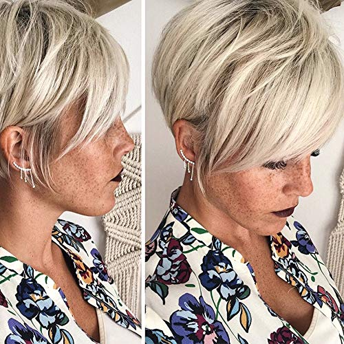 Queentas Pixie Short Blonde Wigs Light Brown Roots Layer Synthetic Hair Wigs for White Women(Platinum Blonde)