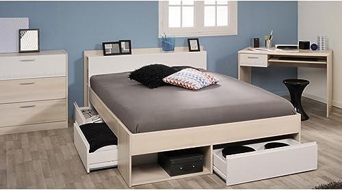 expendio Jugendzimmer Morris 59 Akazie Bett 140x200 Schreibtisch Kommode Schubkastenkommode Jugendbett Singlebett