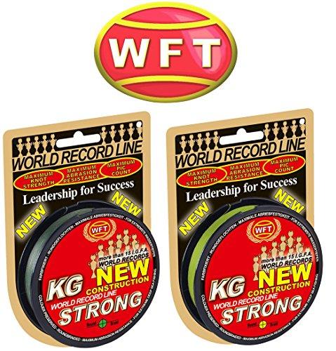 WFT KG Strong 150m 0,12mm 15kg, geflochtene Schnur, Meeresschnur, Angelschnur, Geflechtschnur, Farbe:Grün