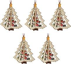 KESYOO 5pcs Christmas Tree Wooden Cutouts 3D Tree Embellishments Christmas Tree Hanging Ornaments Xmas Holiday Party Favor...