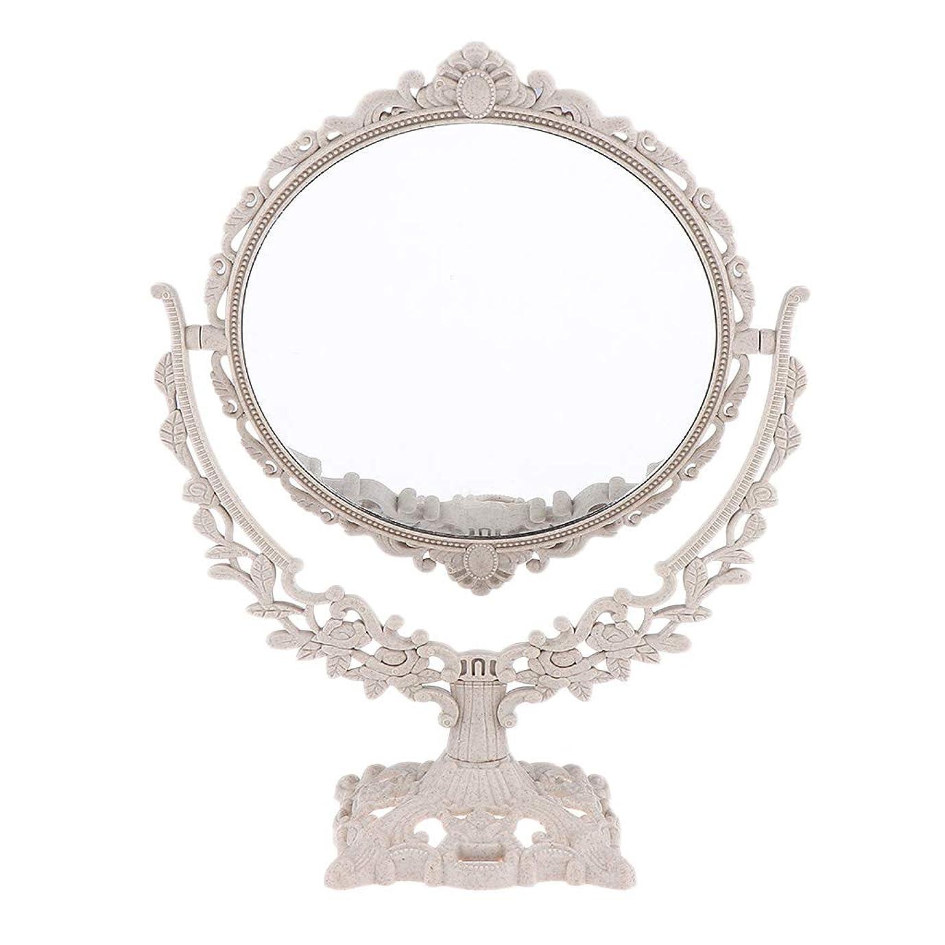 高齢者二次蒸し器P Prettyia メイクアップミラー 化粧鏡 360度スイベル フリースタンド式 3タイプ選べ - 円形