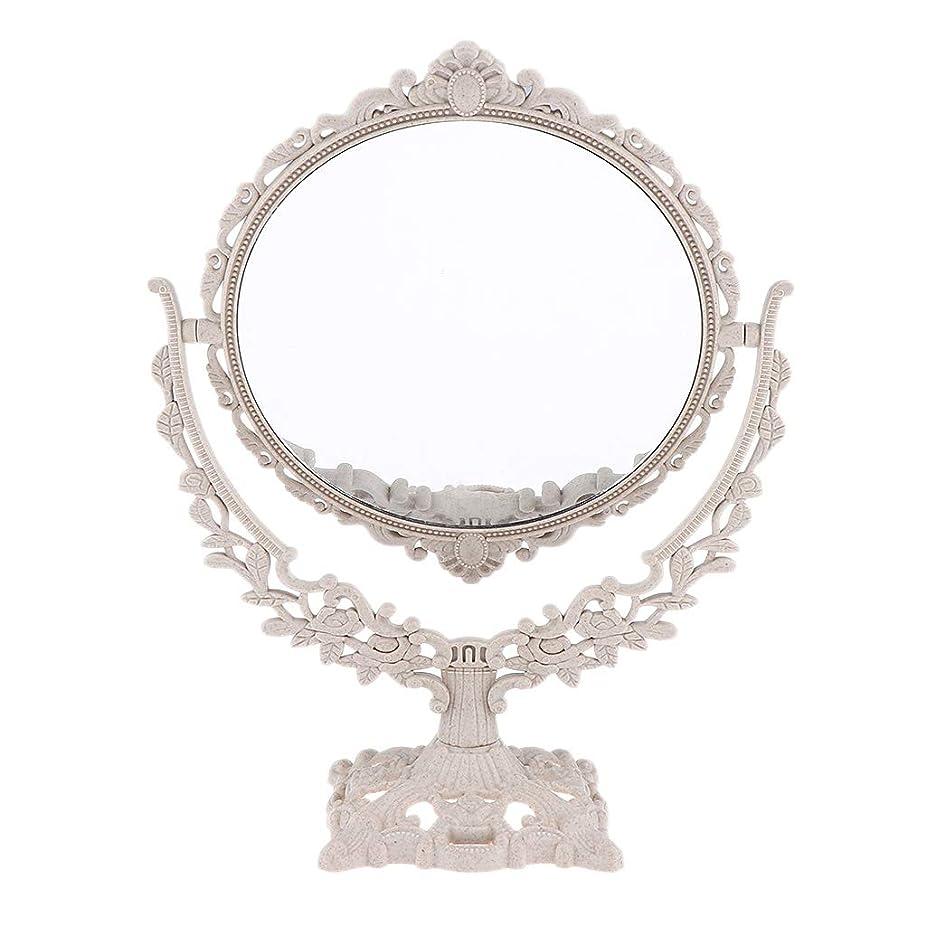 水平オフかろうじてPerfeclan ミラー 鏡 メイクアップミラー 化粧鏡 スタンドミラー 両面鏡 卓上鏡 360度回転 彫刻 パターン - 円形