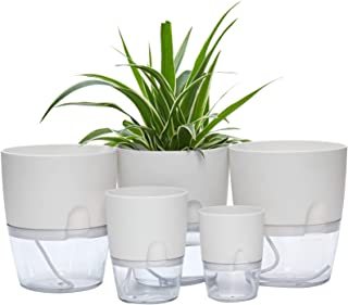 Self Watering Pots for Indoor Plants, ETGLCOZY 5 Pack 6/4.1/3.2 Inch Flower Pot Modern Decorative Plastic Planter with Ext...