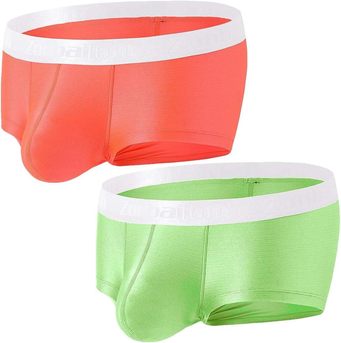 Zonbailon Sexy Mens Bulge Enhancing Underwear Ice Silk Big Pouch Briefs Short Leg Trunks M L XL XXL 3XL