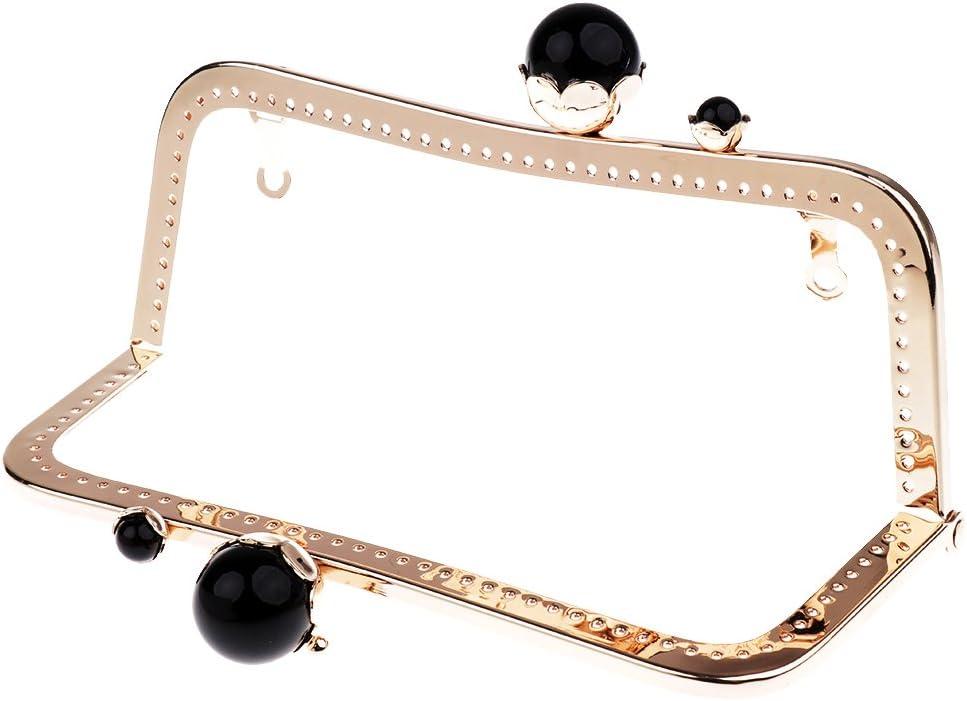 Baoblaze Retro Taschenverschluss Metallb/ügel mit Klippverschluss Taschenrahmen Taschenb/ügel zum Einn/ähen Taschenzubeh/ör Leicht goldschwarze Perlen