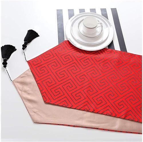 autentico en linea WXIAO Elegante Mesa Rectangular Corrojoera Antifouling Antifouling Antifouling Hotel Hogar Cocina Hoja Mantel (Color   rojo, Tamaño   32  180cm)  bajo precio