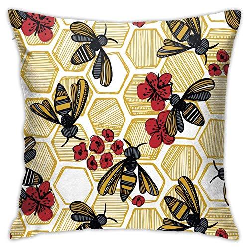 Funda de almohada, diseño de abeja de miel, color rojo sobre blanco, grande, funda de cojín moderna, decoración cuadrada de piilloase para sofá, cama, silla, coche, 45,7 x 45,7 cm
