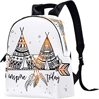 EGGDIOQ Tent and Arrow Printed Fashion Leather Backpack Waterproof Durable School Bookbag Backpack Laptop Bag Daypack for ...