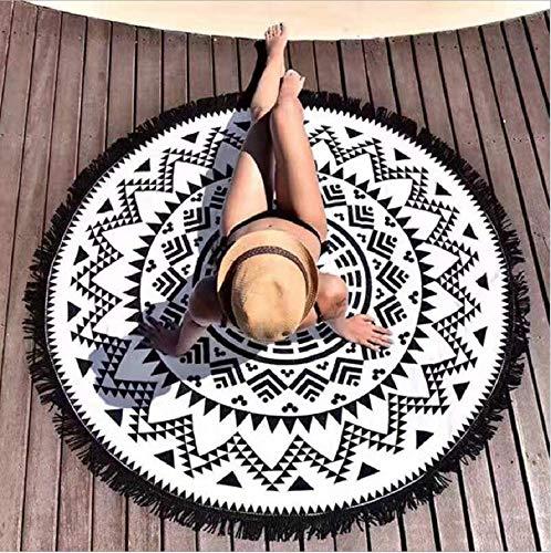 Überwurf Cape Rundes Strandtuch/Strandtücher, Boho Stil Wandteppich Strandtuch Schal, Sonnenschutz Schal, Indisches Mandala Retro Strandtuch Für Reise zum Strand Und Innen-Dekoration (Schwarz&Weiß 2#)