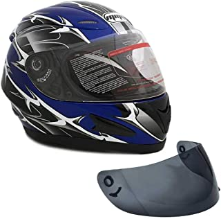 MMG Motorcycle Full Face Helmet DOT Street Legal +2 Visors Comes with Clear Shield and Free Smoked Shield - Spikes BLUE 118S XX-Large
