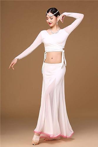 KLMWDDPWY Danse du Ventre Costume Femme VêteHommests de Danse du Ventre Femmes vêteHommests Hors épaule Jupe Veste 3pcs Blanc Costume Filles Costumes de Danse Orientale