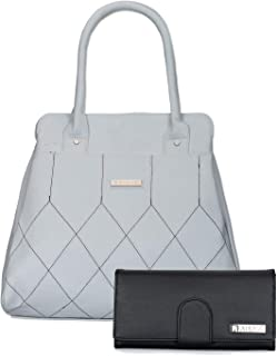 Aisna Women's Combo Handbag & Clutch (White,Black)(Set of 2)