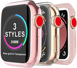 MARGE PLUS for Apple Watch Screen Protector 38mm, [3 Style] Case for iWatch Series 3 2 1, Soft TPU All Around Cover, 1 Rose Gold & 1 Clear, 1 Shock-Proof Bumper Case Pink & White