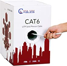 CAT6 Plenum (CMP) 1000ft Bulk Ethernet Cable | Certified 100% Pure Solid Bare Copper | 550MHz, 23AWG, UTP | Blue, White, Green & Yellow | Fluke Tested | High Bandwidth & Stable Performance - White