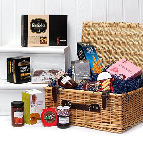 The Noble Luxury Wicker Hamper Basket with 13 Items from Fine Food Store - Perfect for Corporate and Thank You Presents