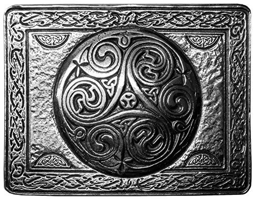 Celtic Spiral Pewter Kilt Belt Buckle - Made in Scotland