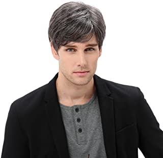STfantasy Men Wigs Gray Curl Short Synthetic Wig for Men Daliy Used Male Weave Hair