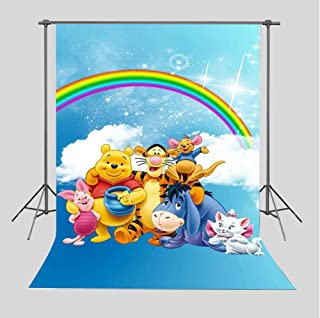 TJ Cartoon Winnie The Pooh Friends Photography Backdrops Children Baby shower Birthday Party Decoration Supplies Rainbow Photo Studio Props White Clouds Photo Background Booth 5x7FT Vinyl
