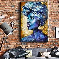 """壁アートポスターに抽象的な青いアフリカの女性のキャンバスの絵画とリビングルームの装飾絵画の肖像画を印刷-60x90cm / 23.6""""x35.4"""" フレームレス"""