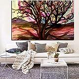 Árbol del desierto Pintura al óleo abstracta Impresiones digitales Lienzo Arte Imagen de la pared Sala de estar Cartel Decoración A 70x100CM