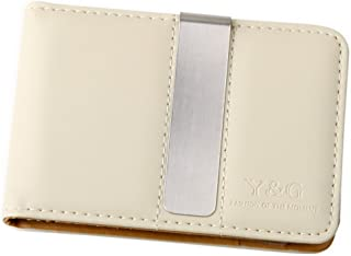 Brown/Beige Fine Leather Wallet-Money Clip Mans Wallet Credit Card Holder with Magnetic Y&G Money Clip MW1001 One Size Brown