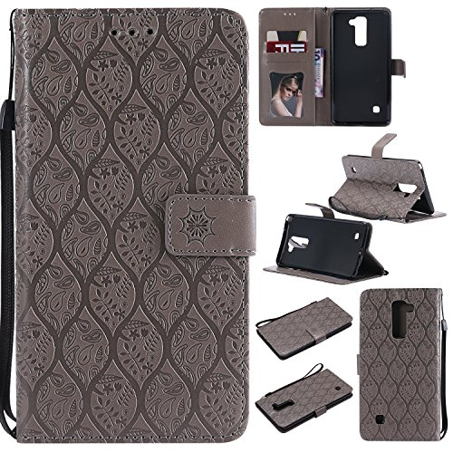 Lomogo LG Stylus 2 Hülle Leder, Schutzhülle Brieftasche mit Kartenfach Klappbar Magnetverschluss Stoßfest Kratzfest Handyhülle Case für LG Stylus2 (K520) - LOYYO23359 Grau
