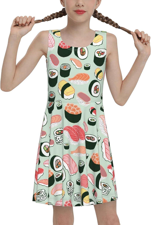 SDGhgHJG Sushi Symbols Sleeveless Dress for Girls Casual Printed Jumper Skirt