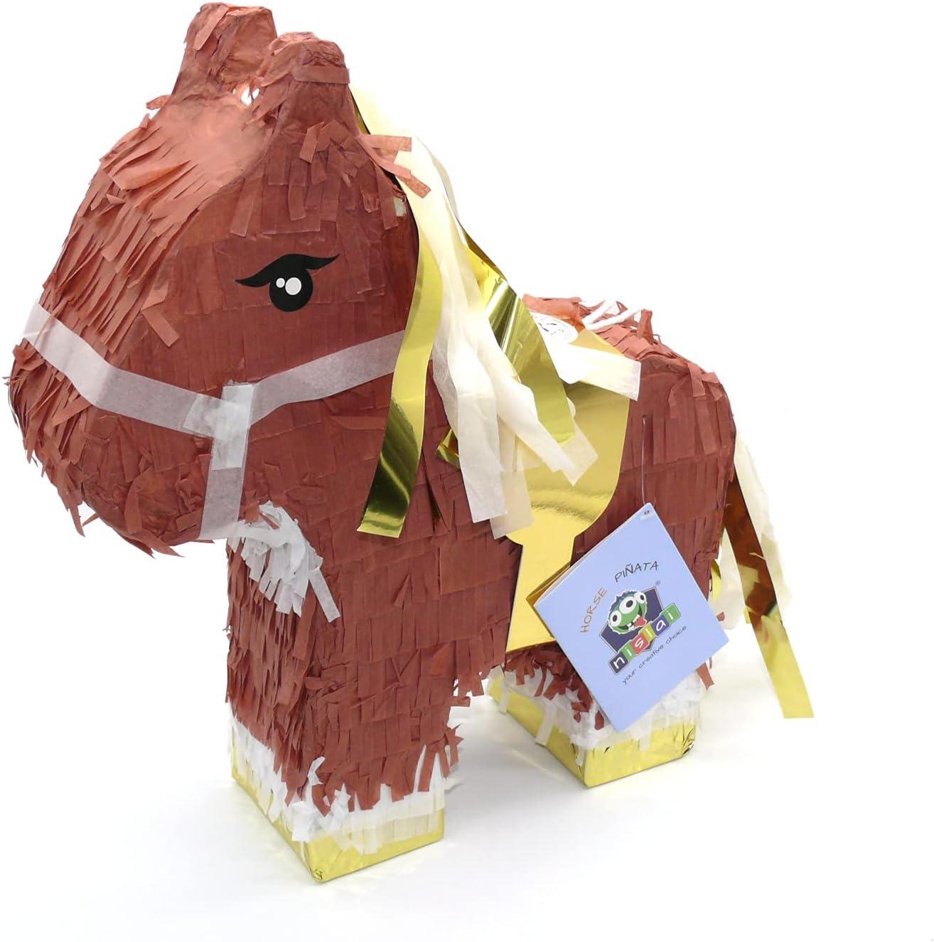 Nislai® Piñata Caballo | Ideal para la Fiesta de caballo o animales | Regalo piñata | piñata de cumpleaños | Fiestas Infantiles | tamaño Aprox. 44x33x10 cm