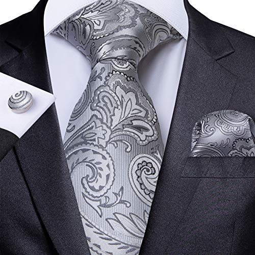 WOXHY Cravate Homme Cravate Costume Argent Rayé Soie De Mariage Boutons De Manchette Hanky Cravate Set Fashion Design Bussiness Party