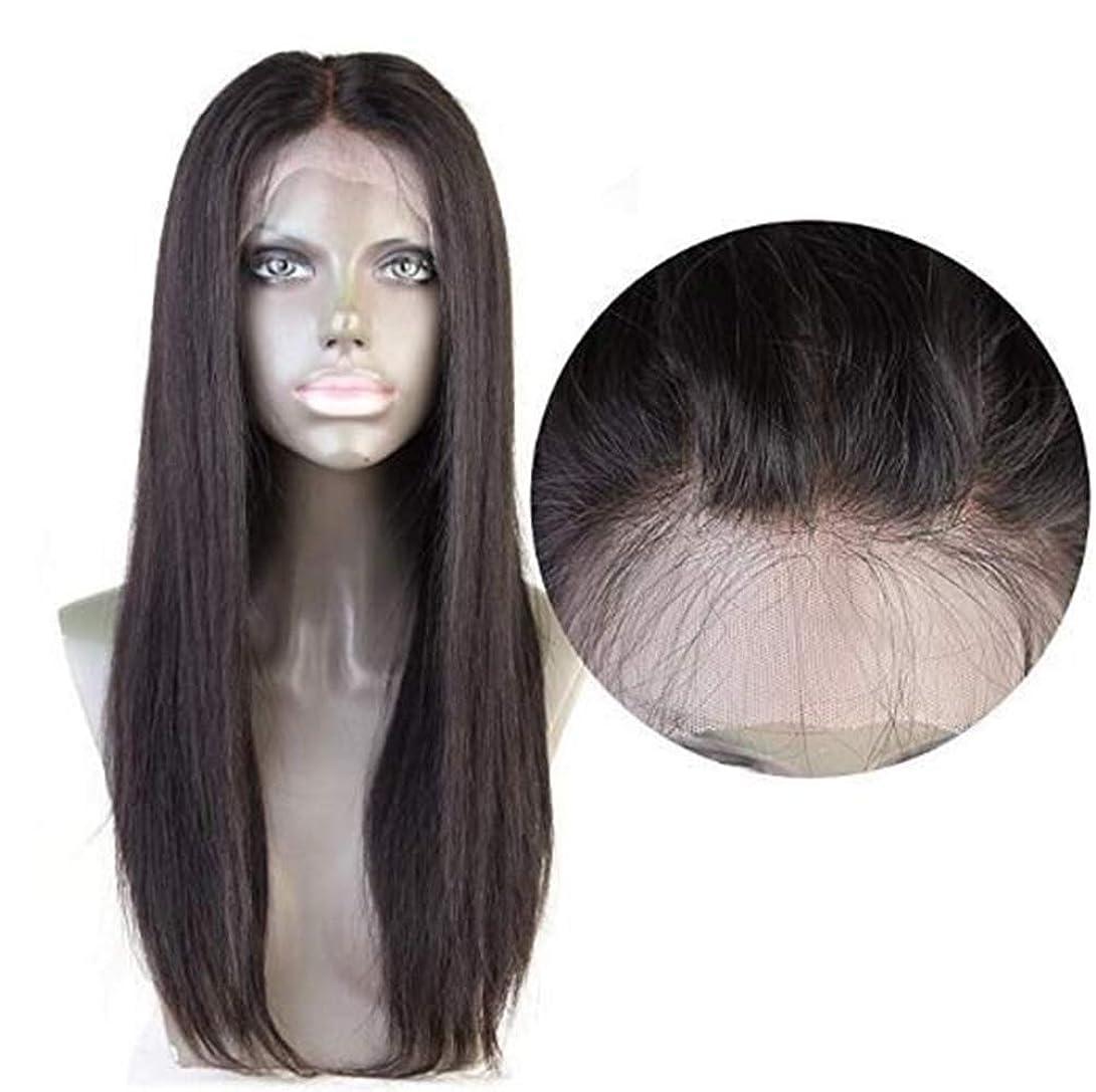 マティス虚偽ペフ女性ストレートヘア4×4レース前頭かつらブラジルバージン人間の髪赤ちゃんの髪自然な色で
