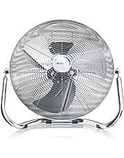 Brandson - Windmachine retro stijl 120 watt - Chromen ventilator - Vloerventilator 50cm - Hoge luchtstroom - Traploze kantelbare ventilatorkop - Zilver