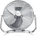 Brandson - Windmaschine Retro Stil | Ventilator in Chrom | Standventilator 30cm | Bodenventilator | hoher Luftdurchsatz | robuster Stand | stufenlos neigbarer Ventilatorkopf | silber