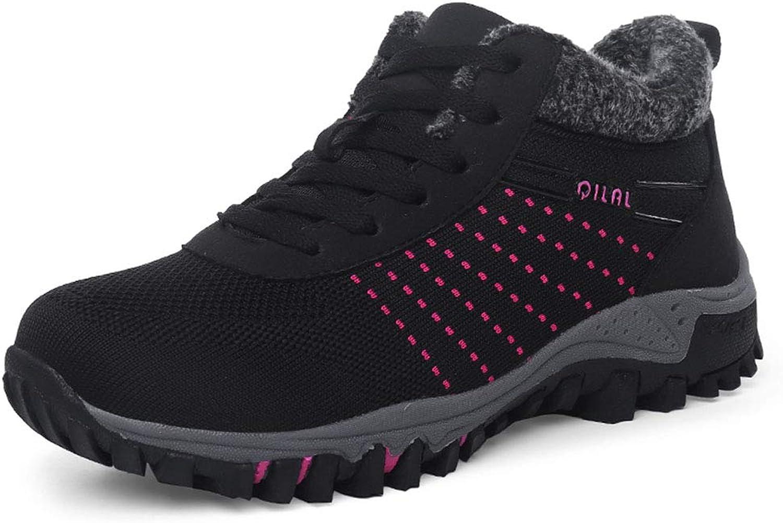 Ruiatoo Women's Sneaker Warm Lace-up Walking Terkking shoes Winter Snow Hiking shoes