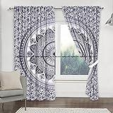 Cortinas de mandala estilo mandala con diseño de mandala, color gris y negro, incluye 2 cortinas de mandala, cortinas, cortinas y cenefas, cortina de tratamiento vintage para ventanas