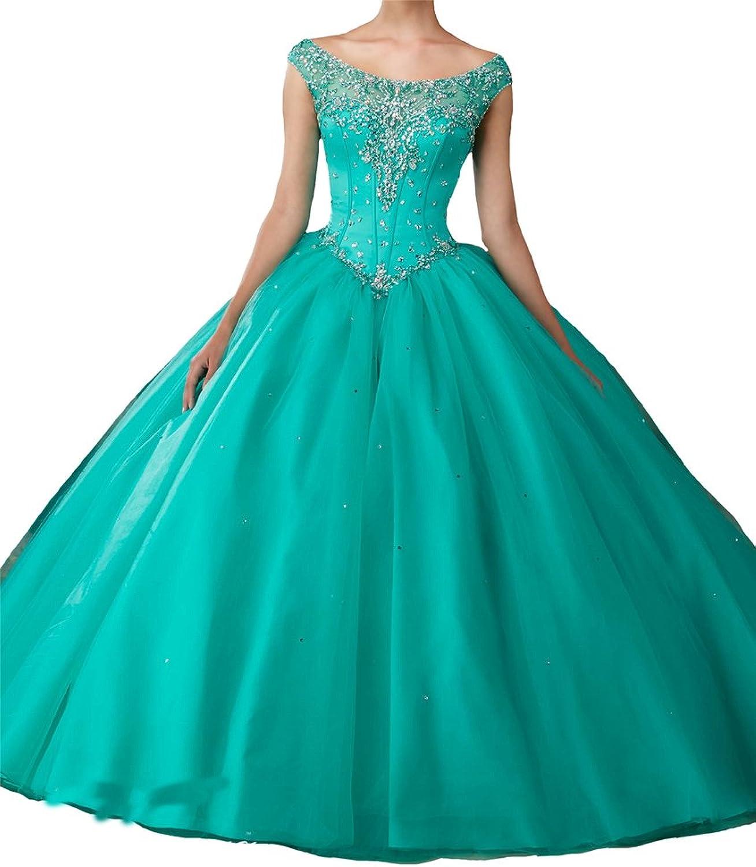 Yang Women Sweet 15 16 Cap Sleeve ALine Beteau Prom Quinceanera Dresses