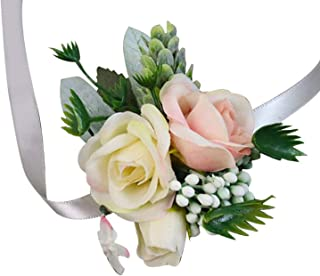 headstream_krystal Wedding Party Favors Wrist Corsage Boutonniere Champagne Rose Flower Brooch Bouquet Groom Bride Bridesmaid Wristband,6-H