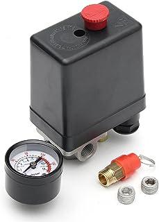MASUNN 220V 1/10 4 Port Einphasiger Luftkompressor Druckschalter Mit Sicherheitsventil Anzeige