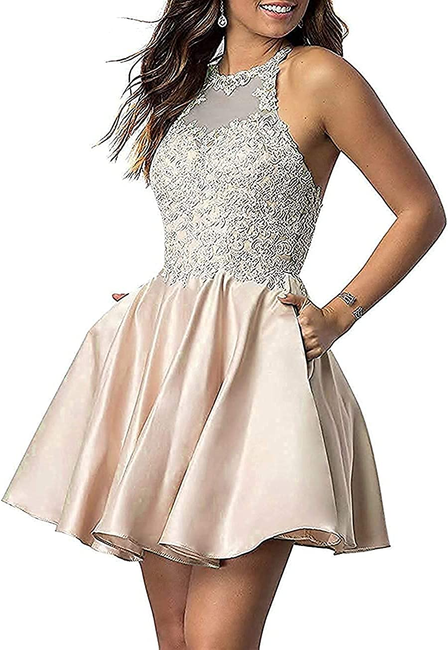 Halter Short Homecoming Dresses Lace Applique Prom Dress with Pockets for Women