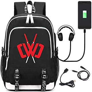 Universal Portable Student Schoolbag, Chad Wild Clay Backpack for Kids Vintage Canvas Backpack Hiking Travel Rucksack with USB Charging Port and Music Port (Black2)
