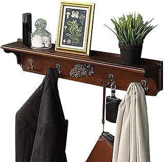 壁掛けコートラックシェルフ - 4つの素朴なフック、あなたの入り口の完璧なタッチ、キッチン、バスルームの木製のコートフック