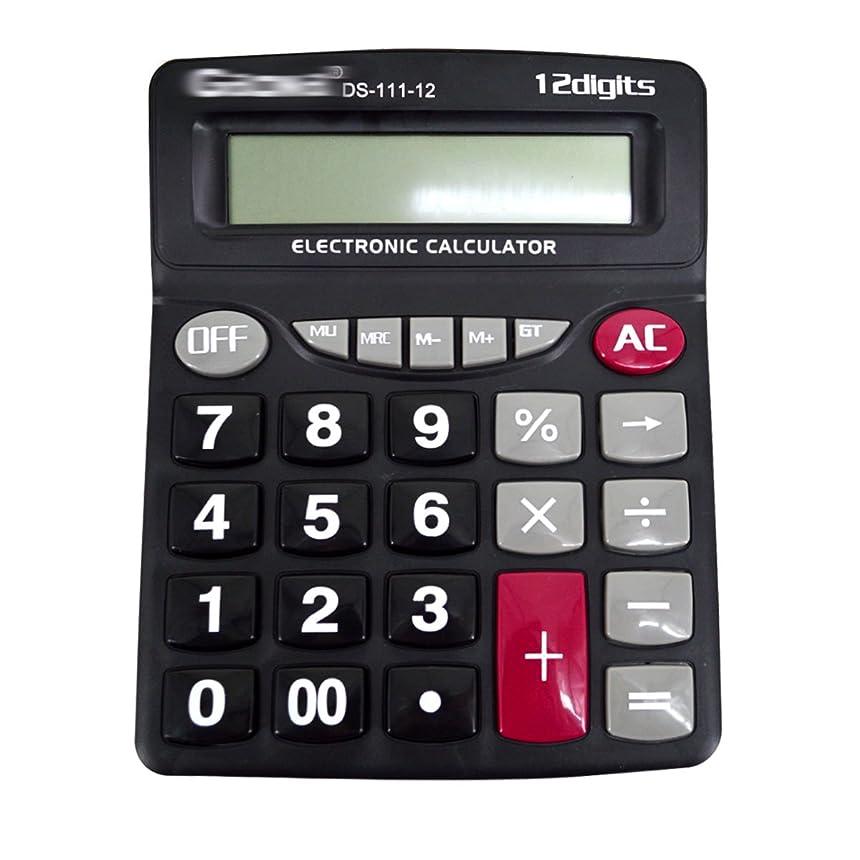 マラソンブラウス宿題クララ12桁大きな表示Bigキーストローク電子計算機計算機ポータブルAAバッテリーPoweredオフィスデスクトップ電卓 one size