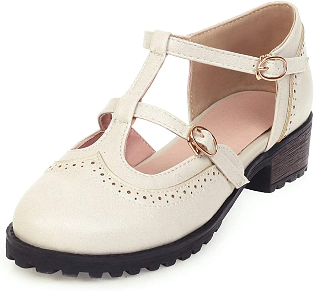 VIMISAOI Womens Vintage Oxfords Credence Sales results No. 1 Wingtip Ankle Strap Chun Buckle