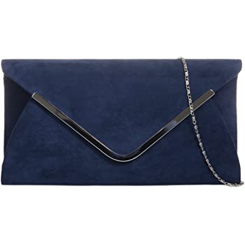 Purple Possum Navy Blue Envelope Clutch Bag, Dark Blue Faux Suede Evening Bag with Silver Tone Metal Trim, Ladies Prom Shoulder Bag, Wedding Handbag