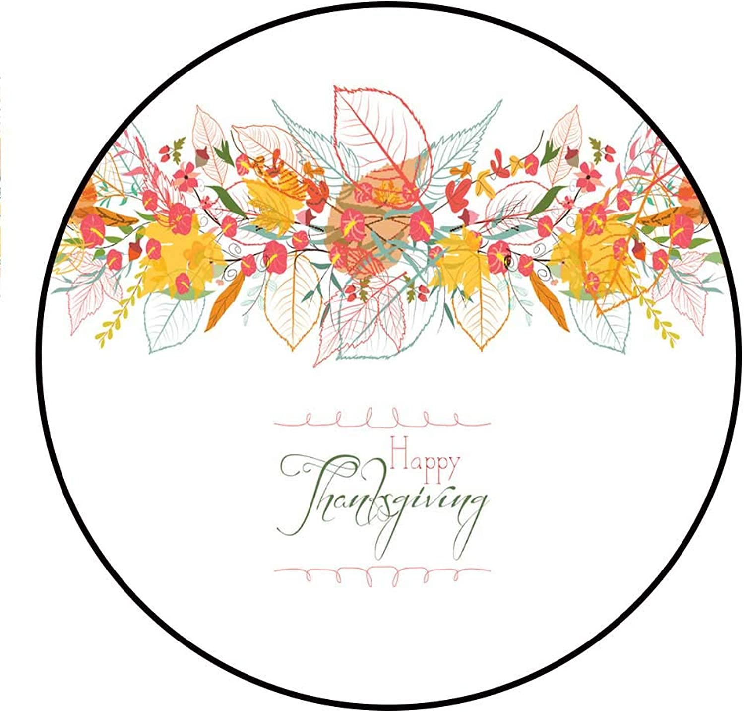 Hua Wu Chou Round Exercise matround BBQ Grill mat D4'2 1.3m Happy Thanksgiving Background of Stylized Autumn Leaves for Greeting Cards