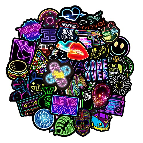 Neon Stickers Pack, 50Pcs Waterproof Vinyl Stickers for Water Bottles Laptop Guitar Computer Phone, Trendy Stickers for Teens and Adults