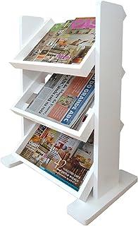 Revisteiro de Piso Chão Porta Revistas Livros Jornal - Branco Laca