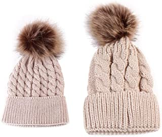 Flyme Mom and Baby Winter Knitting Beanie Pom Pom Bobble Hats